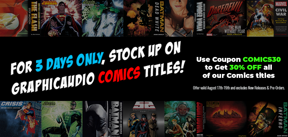 30% Off Comics titles with coupon code COMICS30. Excludes New Releases and Pre-Orders. Valid August 17 to 19.