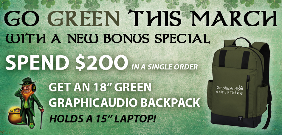 Spend $200 or more and get a Green GraphicAudio Backpack